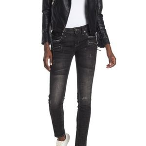Rock Revival - Skinny Distressed Zip Moto Jeans